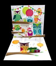 3D Pop Up Greeting Card Owl Party Happy Birthday Treasures New