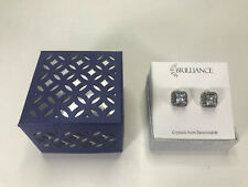Brilliance Crystals from Swarovski Stud Earrings Silver Tone Square Clear Gems
