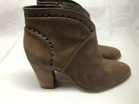 "Vince Camuto Women's Brown Leather Boots Side Zip 4"" Stacked Heel Size 11M"