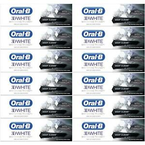 12 x Oral-B 3D White Toothpaste Whitening Therapy Deep Clean Paste with Charcoal