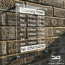 Personalised Custom Wall Mounted Acrylic Perspex Shop Opening Hours Times Sign