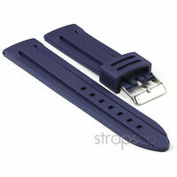 StrapsCo Divers Silicone Waterproof Rubber PU Watch Band Mens Strap in Blue