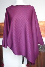 Shola burgundy red and blue dog-tooth oversize top kaftan sz14-16