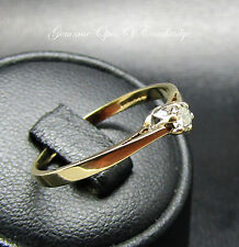 9ct Gold Diamond Solitaire Ring Size O 1/2