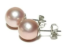 Marvelous Excellent Luster 10.5mm Purple Rose Peach Round Edison Pearl Earrings