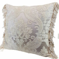 Chenille cushion cover 45cm x 45cm - French Cream / Silver colour trimmed with m
