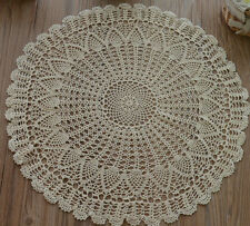"18"" Round Cotton Ecru Hand Crochet Pineapple Table Centerpiece Doily"