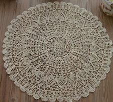 18 Round Cotton Ecru Hand Crochet Pinele Table Centerpiece Doily