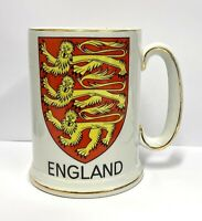 """Vintage """"The Arms of England"""" Ironstone Stein Mug Cup The Lion Heart Story"""