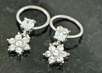 "Pair 16g 3/8"" 4mm prong set C.Z. paved gem flower captive ring, earring, tragus"