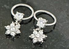 "Pair 16g 3/8"" 4mm Prong Set C.z. Paved Gem Flower Captive Ring Earring Tragus"
