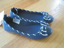 Girl GYMBOREE NAVY BLUE WITH WHITE STRIPES TRIM & BOW FLATS SHOES NWT 12