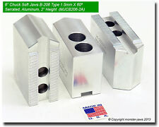 "6"" Aluminum Soft Jaws 1.5mm x 60° Serrated for B-206 Type Lathe Chucks (2.0"" Ht)"