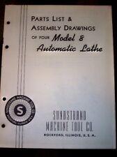Sundstrand 8 Automatic Lathe Parts Catalog/List/Manual