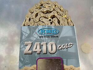 "KMC Z410 1/2"" X 1/8"" 112L BMX FIXED CRUISER SINGLE SPEED GOLD BIKE CHAIN"