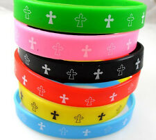 30pcs Color Mixed Jesus Cross Silicone Bracelets Wholesale Fashion Wristbands