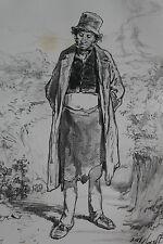 GAVARNI Lithographie originale série PHYSIONOMIES PARISIENNES - LE LUNDI Philo..