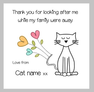 Thank you for looking after the cat personalised card from the cat cute cats