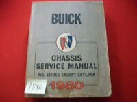 1980 FACTORY ISSUED BUICK CHASSIS SERVICE MANUAL ALL SERIES EXCEPT SKYLARK VGC