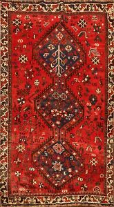 Vintage Geometric Abadeh Tribal Area Rug Hand-Knotted Oriental Foyer Carpet 4x6