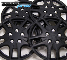 """Snap-On Hubcap 15"""" Inch Wheel Rim Skin Cover 4pcs Matte Black - 15 Inches #523"""