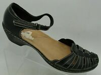 Clarks Collection Women Sandal Sz 11 M Black Leather Mary Jane Strap Closed Toe