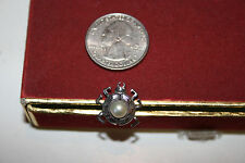 Vintage Sterling Silver Beetle Pin Tie Tac with Pearl