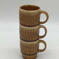 Retro Vintage Set of 3 Stacking Light Brown Drip Coffee Mugs-Mid Century-JAPAN