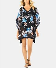 Swim Solutions Crochet-Trimmed Cover-Up,Blue Floral Size M $68