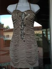 Size Small Size 0 to Size 2 party banquet cocktail dress beige -New with tags