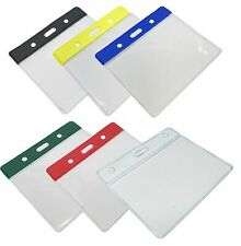 More details for clear id card badge pass holder pouch pocket wallet for lanyard neck straps
