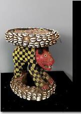 Antiguo Tribal bamileke con cuentas | Trono Taburete con leopardo -- Camerún BN 57