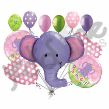 11 pc Ellie the Elephant Baby Girl Balloon Bouquet Decoration Shower It's a Dots