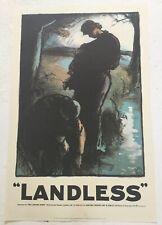 """Rare Historic Labour Party Poster Print 1970's Politics  """"Landless"""" Marx Trotsky"""