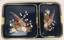 Vintage Lacquerware Nesting Trays Navy Blue Unique Pheasant Flowers Design Japan