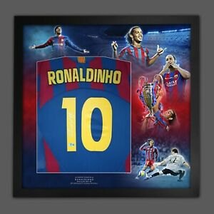 Ronaldinho Signed Barcelona Football Shirt In Framed Picture Mount Presentation