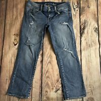Women's American Eagle Distressed Washed Artist Cropped Jean Sz 6R Stretch