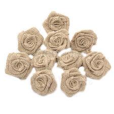 10Pcs Khaki Rustic Burlap Flower Rose Hessian Jute Vintage Wedding Decor