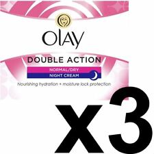 3 x Olay Double Action Moisturiser Normal Dry Skin Night Cream Classic Care 50ml