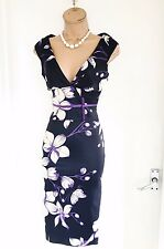 Stunning KAREN MILLEN Dark Navy Floral Satin Wiggle Pencil dress Uk Size 8