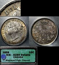 ELITE VARIETIES CANADA 10 cents - 1858 Blundered I in DEI - AU55 (a485)