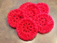 Scrubbies pot scrubber nylon 5 handmade crochet RED kitchen FREE SHIPPING dish