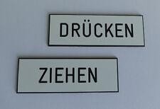 1 Satz PVC Schilder Drücken / Ziehen 65 x 22cm selbstklebend weiß / schwarz NEU