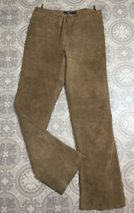 VTG TCM brown Suede 100% Leather Straight Leg Trousers 10 12 W29 L29 Western St