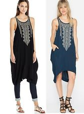 $218 JOHNNY WAS BIYA NARI EMBROIDERED TUNIC DRESS BLACK SOFT RAYON SZ M NWT