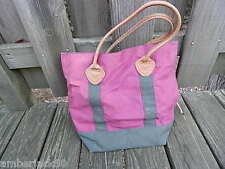 PRE-OWNED PURPLE CANVAS W LEATHER HANDLES LL BEAN TOTE/PURSE/HANBAG INTRNTL SALE