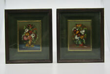 More details for pair antique small still life oil painting vase with flowers framed signed ester