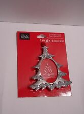 "New ORNAMENT PICTURE FRAME CHRISTMAS TREE SILVER GLITTERING Fit Photo1.5""W x 2""H"