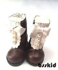 "BJD Yo-SD 1/6 Dollfie 13"" Effner 12"" Kish Doll Shoes BROWN Boot Pearl Lolita"