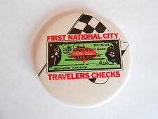 Vintage First National City Bank Travelers Checks Advertising Pinback Button